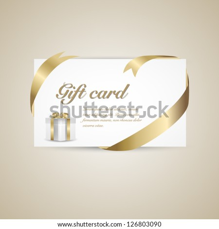 Gift card with gold ribbon and gift box. Vector background