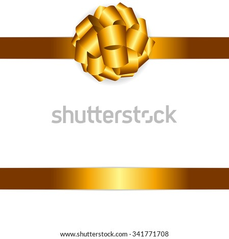 Gift Card with Golden Bow and Ribbon Vector Illustration EPS10 - stock vector