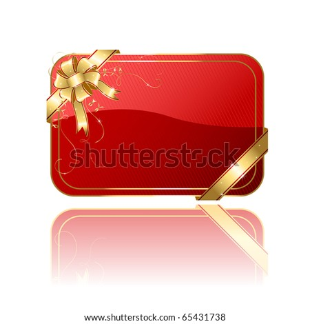 Gift card with golden ribbon and bow, illustration - stock vector