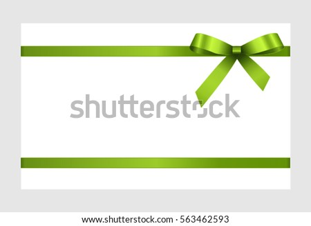 Shutterstockpiven aleksandr gift card with green ribbon and a bow on white background gift voucher template yelopaper Choice Image