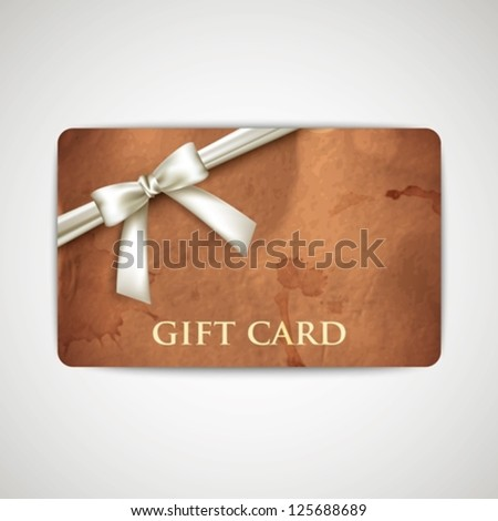 gift card with grunge cardboard texture and white bow