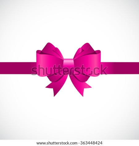 Gift Card with Pink Bow and Ribbon Vector Illustration EPS10 - stock vector