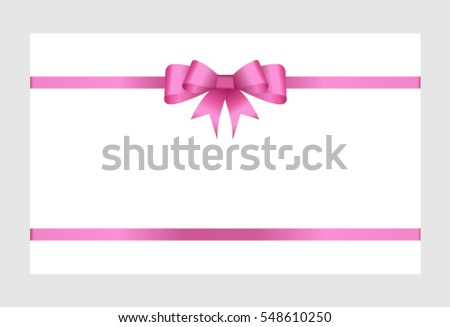 gift card pink ribbon bow on stock vector royalty free 548610250