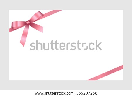 Gift Card With Pink Ribbon And A Bow on white background.  Gift Voucher Template.  Vector image.