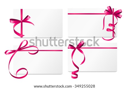 Gift Card with Pink Ribbon and Bow Set. Vector illustration EPS10 - stock vector