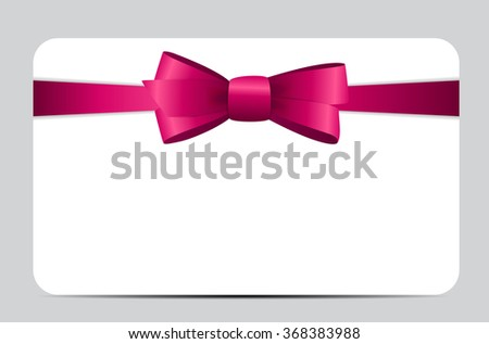 Gift Card with Pink Ribbon and Bow. Vector illustration EPS10 - stock vector