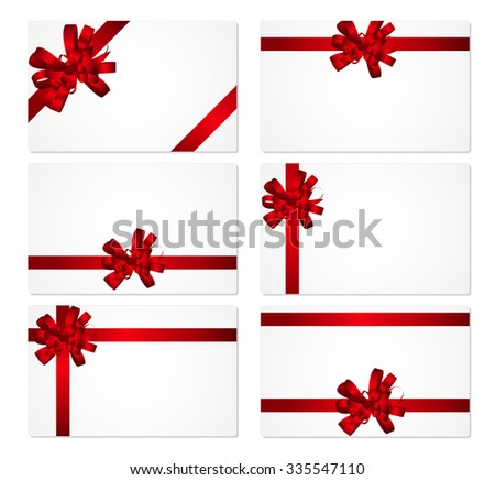 Gift Card with Red Bow and Ribbon Set Vector Illustration EPS10