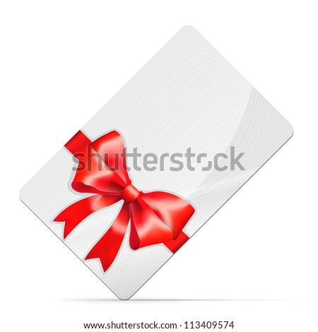 Gift card with red bow Isolated on white. Vector illustration - stock vector