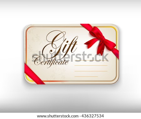 gift card with red bow tied to the corners and ribbon. Vector event invitation card - stock vector