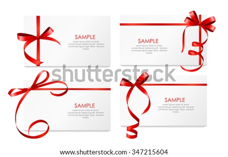 Gift Card with Red Ribbon and Bow Set. Vector illustration EPS10