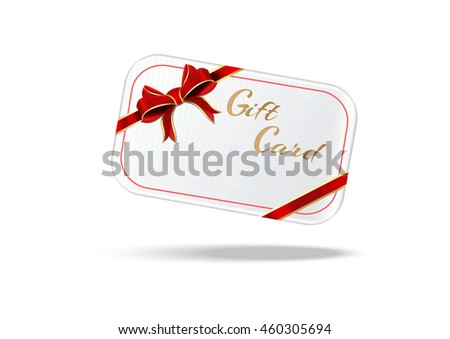 Gift card with red ribbon and bow. White realistic gift card. Vector illustration isolated on white background - stock vector