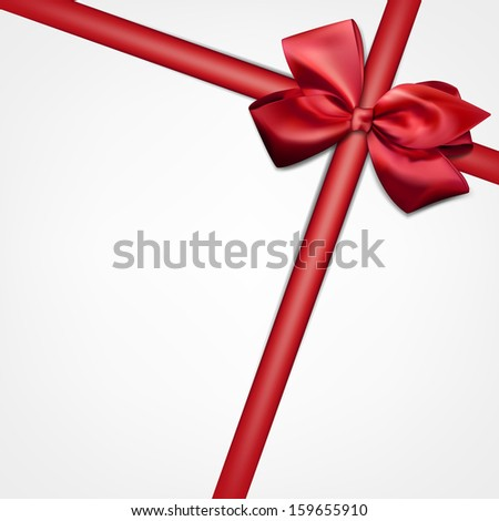 Gift card with red ribbon and satin bow. Vector illustration.