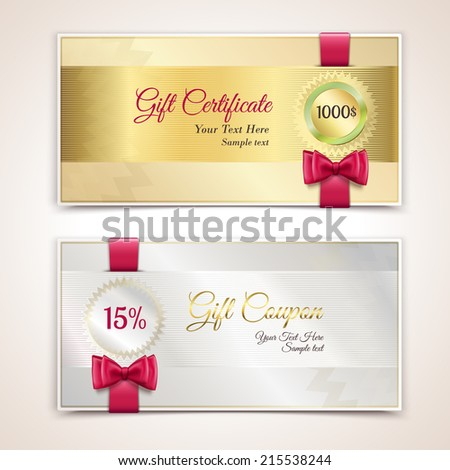 Gift cardboard paper holiday certificate set with red bows and ribbons vector illustration - stock vector