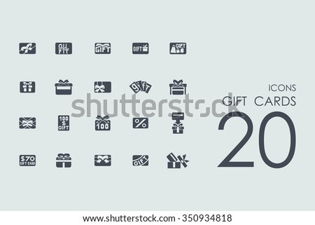 gift cards vector set of modern simple icons - stock vector