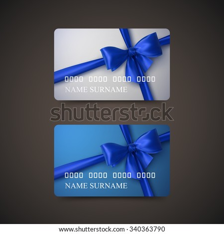 Gift Cards With Blue Bow And Ribbon. Vector Illustration. Gift Or Credit Card Design Template - stock vector
