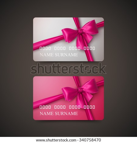 Gift Cards With Pink Bow And Ribbon. Vector Illustration. Gift Or Credit Card Design Template - stock vector
