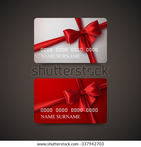 Gift card stock images royalty free images vectors shutterstock gift cards with red bow and ribbon vector illustration gift or credit card design negle Gallery