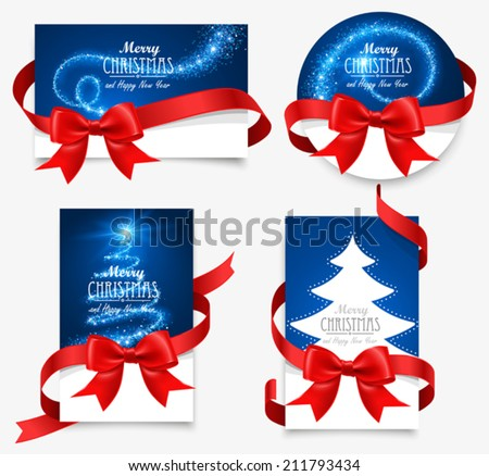 Gift cards with red bows - stock vector