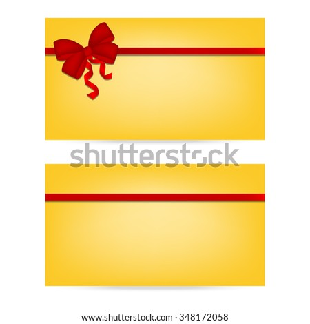 Gift cards with ribbons. Invitation card. Discount card, Vector background
