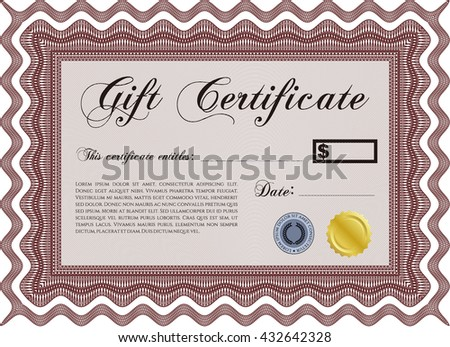 Gift certificate. Detailed. Cordial design. Easy to print.  - stock vector