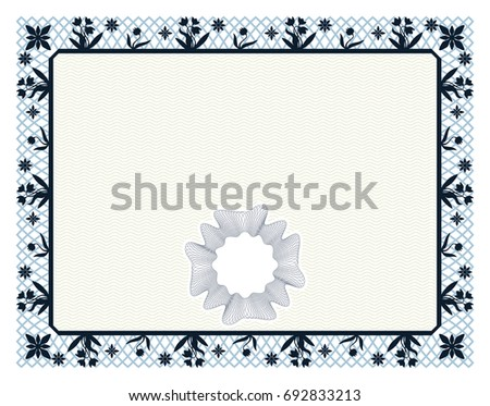 Gift certificate diploma award template border stock vector hd gift certificate diploma award template with border as celtic pattern with flowers and macrame yadclub Images