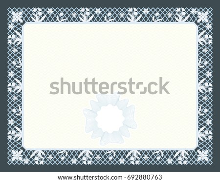 Gift certificate diploma award template border stock vector gift certificate diploma award template with border as celtic pattern with flowers and macrame yadclub Images