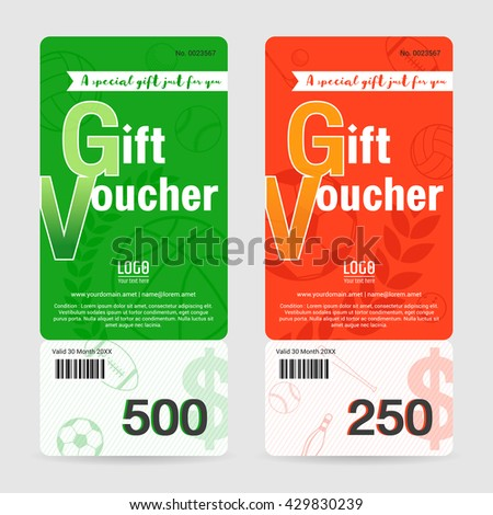 Gift Certificate, Gift Voucher, Gift Card Template In Sport Theme Vector  Format  Gift Voucher Format