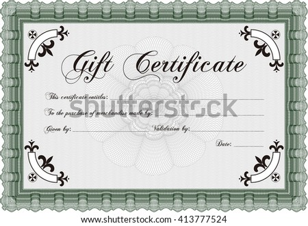 Gift certificate. Nice design. Detailed. Easy to print.  - stock vector