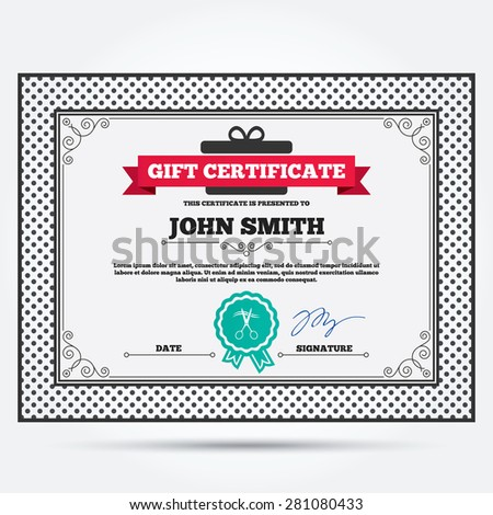 Gift certificate scissors cut hair sign stock vector hd royalty gift certificate scissors cut hair sign icon hairdresser or barbershop symbol template with yelopaper Images