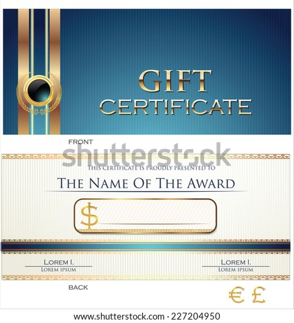 Gift certificate template - stock vector