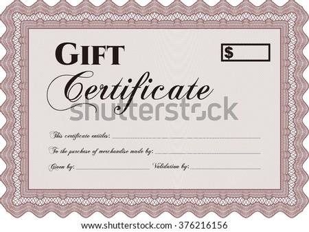 Gift Certificate Template Border Frame Linear Stock Vector 376216156
