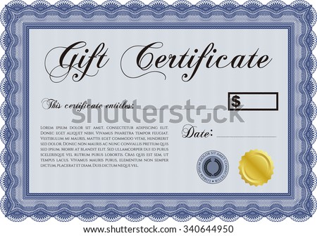 Gift certificate template. Detailed.With quality background. Artistry design.  - stock vector