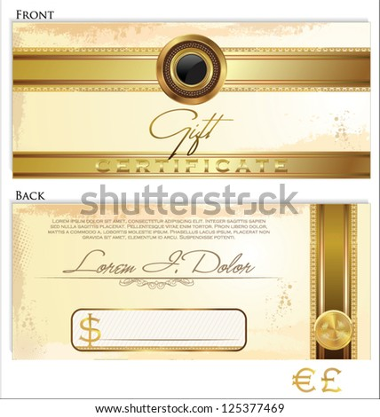 Gift certificate template front back design stock vector 125377469 gift certificate template front and back design yadclub Choice Image