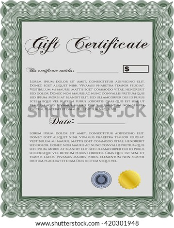 Gift certificate template. Printer friendly. Detailed. Complex design.  - stock vector