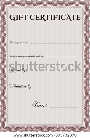 Gift Certificate Template Linear Background Border Stock Vector