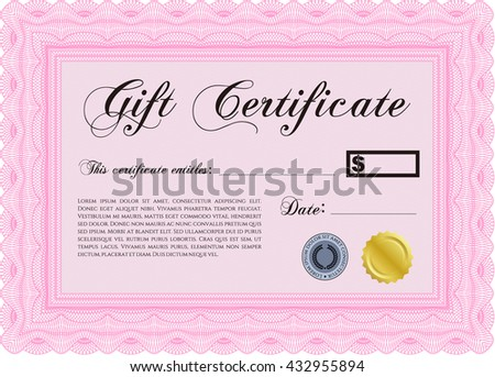 Gift certificate template. With quality background. Border, frame. Superior design.  - stock vector