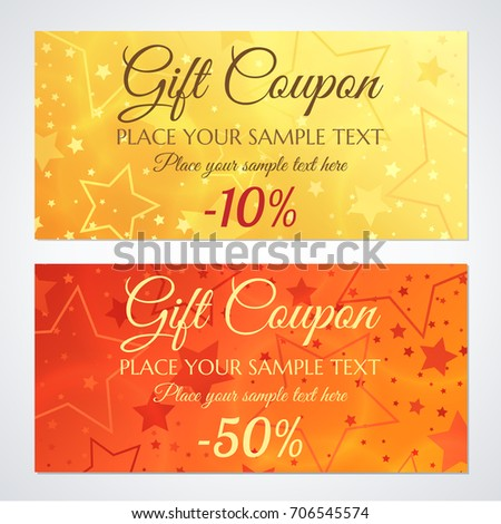 Gift Certificate Voucher Coupon Invitation Gift Stock Vector