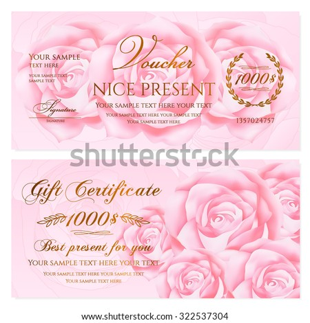 Gift certificate, Voucher, Coupon, Reward / Gift card template with floral rose (flowers pattern). Set of feminine background design for gift banknote, check, gift money bonus, ticket, flyer, banner - stock vector