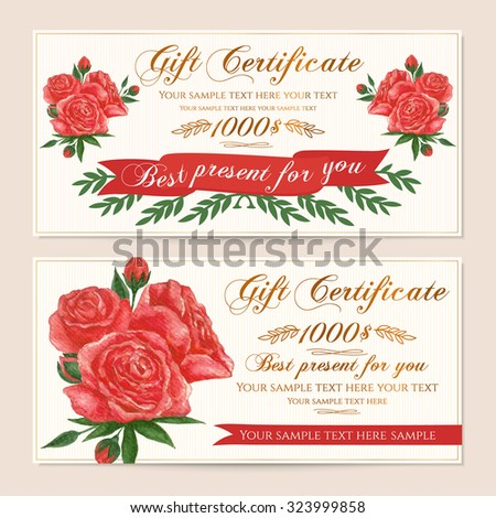 Gift certificate, Voucher, Coupon, Reward / Gift card template with vintage red roses (flowers pattern). Floral feminine background design set for gift banknote, check, gift money bonus, ticket, flyer - stock vector