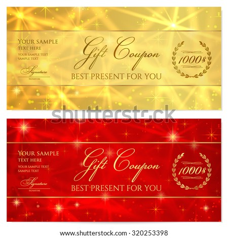 Gift certificate, Voucher, Coupon, Reward or Gift card template with sparkling, twinkling stars texture (pattern). Red, gold background design for gift banknote, check, gift money bonus, ticket, flyer