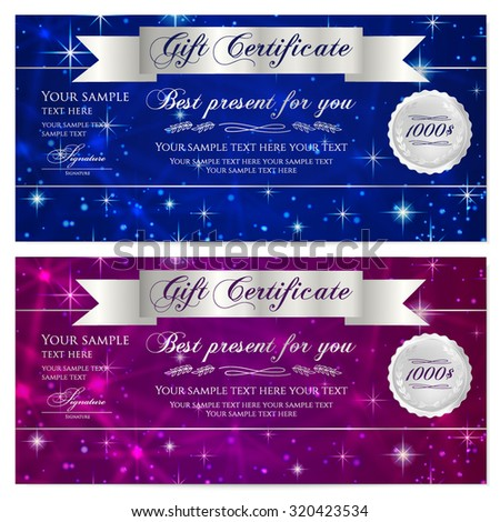 Gift certificate, Voucher, Coupon, Reward or Gift card template with sparkling, twinkling stars texture, ribbon. Dark blue background design for gift banknote, check, gift money bonus, flyer, banner - stock vector