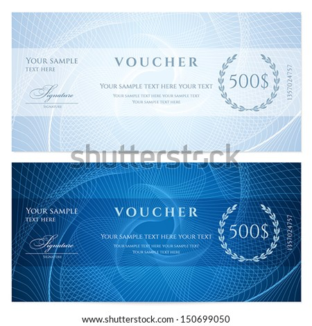 Gift certificate, Voucher, Coupon template with blue guilloche pattern (watermark). Dark background for banknote, money design, currency, note, check (cheque), ticket, reward. Vector - stock vector