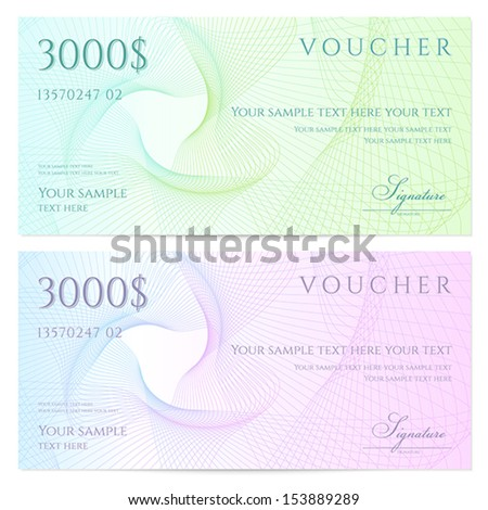 Gift Certificate Voucher Coupon Template Colorful Vector – Money Coupon Template