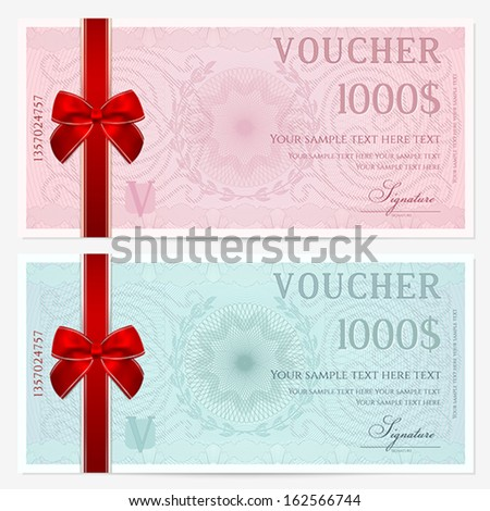 Gift certificate, Voucher, Coupon template with colorful guilloche pattern (watermark), red bow. Pink background for banknote, money design, currency, note, check (cheque), ticket, reward. Vector - stock vector
