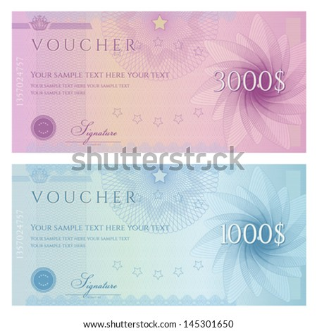 Gift certificate, Voucher, Coupon template with guilloche pattern (watermark), border. Background for banknote, money design, currency, note, check (cheque), ticket, reward. Blue, purple color. Vector - stock vector