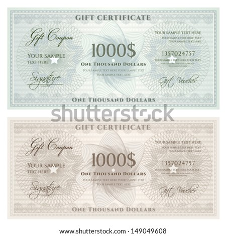 Gift certificate, Voucher, Coupon template with guilloche pattern (watermark), border. Background for banknote, money design, currency, note, check (cheque), ticket, reward. Vintage color. Vector - stock vector
