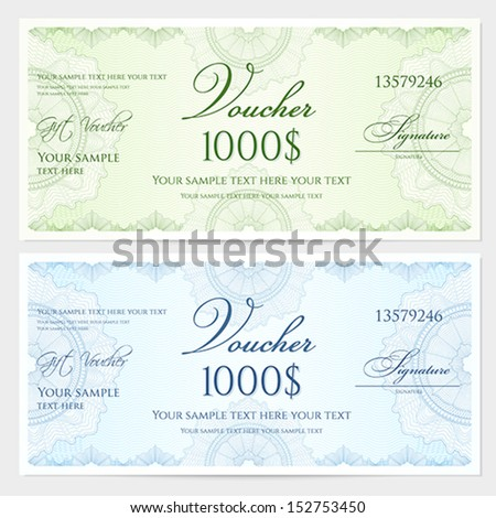 Gift certificate, Voucher, Coupon template with guilloche pattern (watermark), border. Background for banknote, money design, currency, note, check (cheque), ticket, reward. Blue, green color. Vector  - stock vector