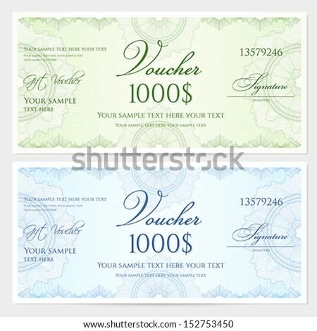 Voucher Gift Certificate Coupon Template Guilloche Stock Vector