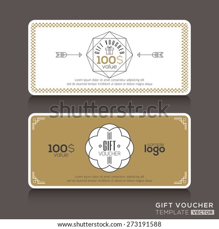 Gift certificate voucher coupon template with line art hipster design - stock vector