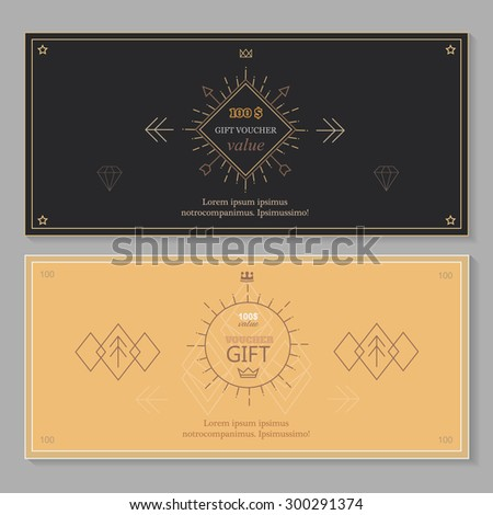 Gift certificate voucher coupon template with line art, Hipster design - stock vector